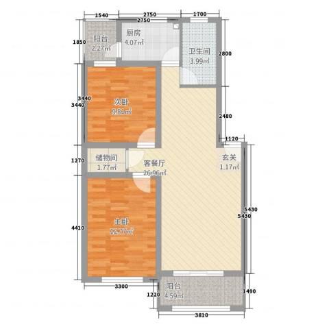 香林・丽景湾2室1厅1卫1厨96.00㎡户型图