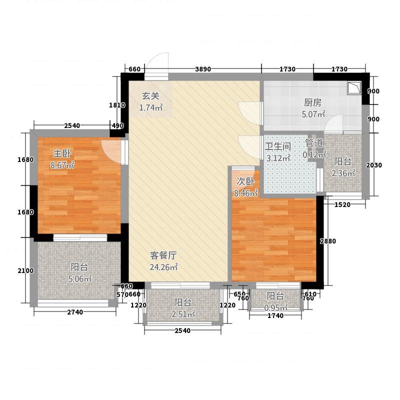 碧桂园凤凰城87.00㎡二期1-6幢标准层J175-B户型2室2厅1卫