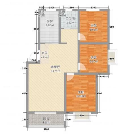 东园映象3室1厅1卫1厨81.53㎡户型图