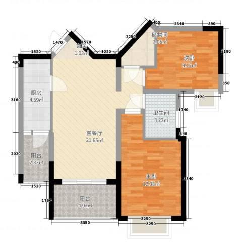 昆山鑫苑国际城市花园2室1厅1卫1厨88.00㎡户型图