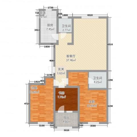 朗诗.绿色街区3室1厅2卫1厨138.00㎡户型图