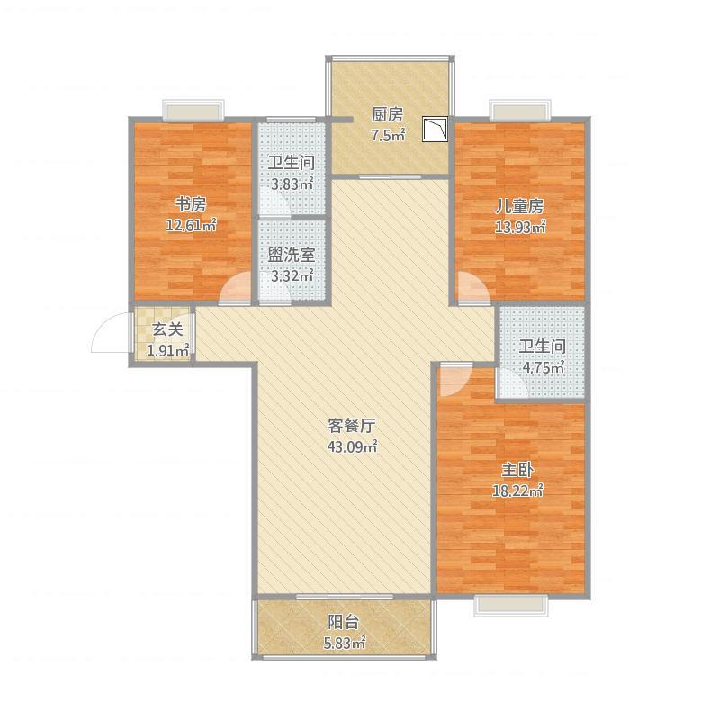 144平户型三室两厅两卫