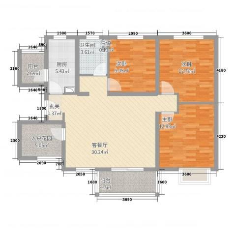 世纪之门3室1厅1卫1厨113.00㎡户型图