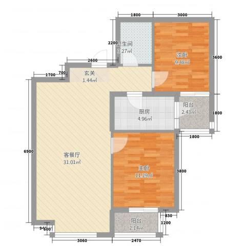 橄榄城2室1厅1卫1厨64.59㎡户型图