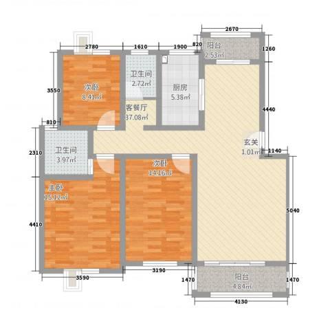 香林・丽景湾3室1厅2卫1厨137.00㎡户型图