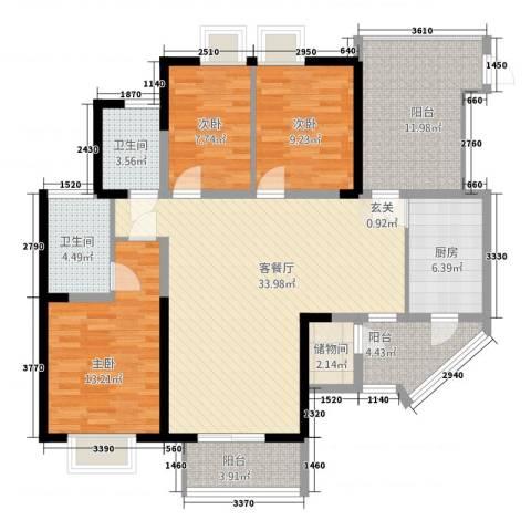 昆山鑫苑国际城市花园3室1厅2卫1厨145.00㎡户型图