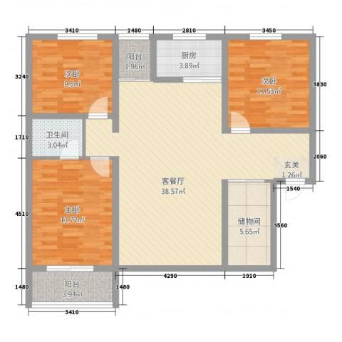今朝馨苑3室1厅1卫1厨132.00㎡户型图
