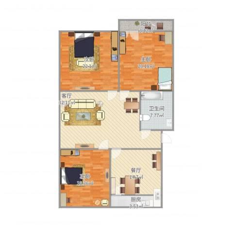 工人新村3室2厅1卫1厨162.00㎡户型图