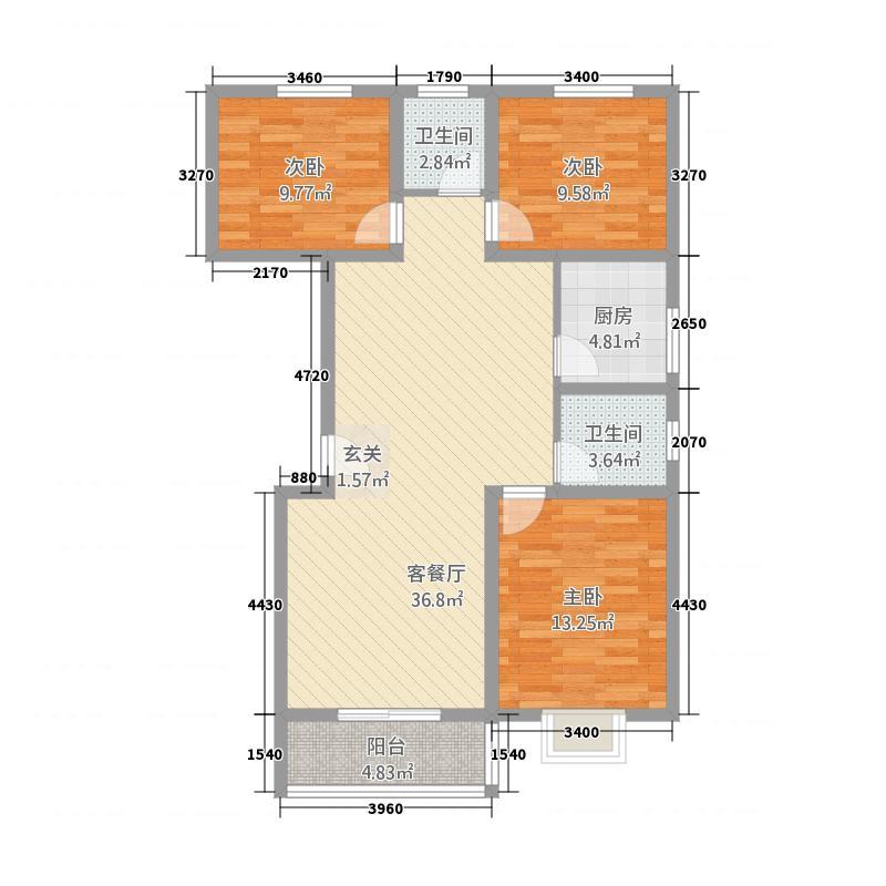 今朝馨苑121.80㎡20-E户型3室2厅2卫1厨