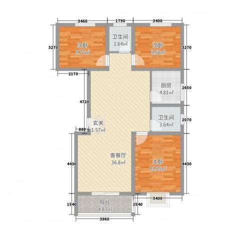 今朝馨苑3室1厅2卫1厨122.00㎡户型图