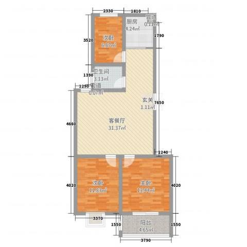 学府苑3室1厅1卫1厨75.71㎡户型图