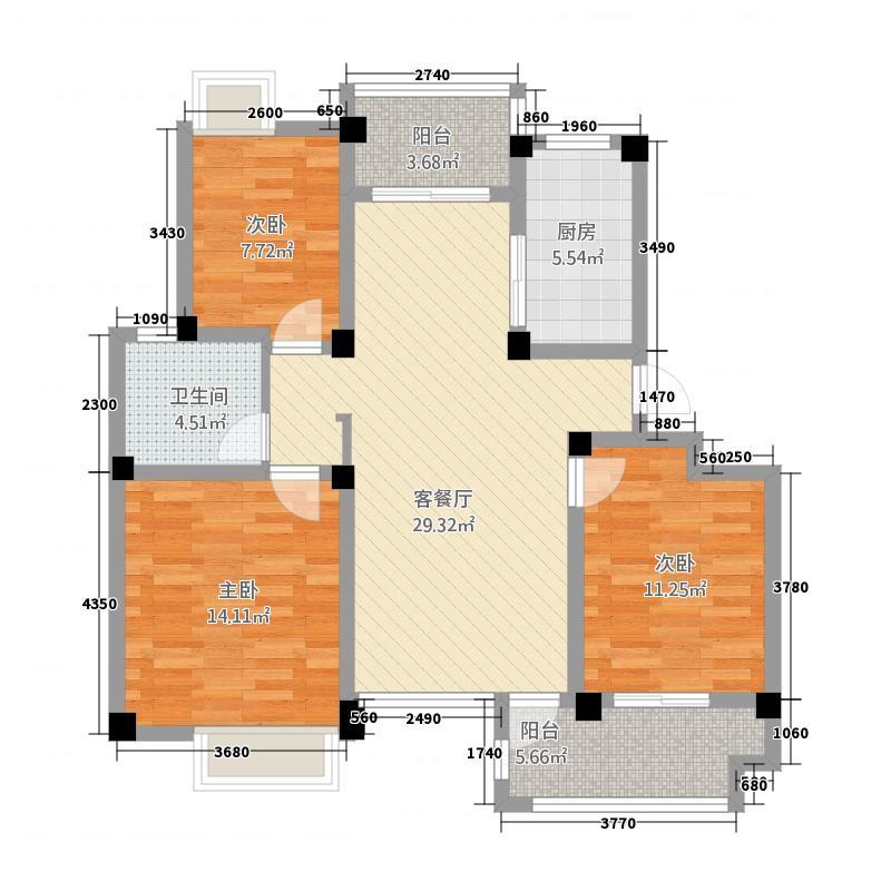 清城美墅116.00㎡C3西边户户型3室2厅1卫1厨