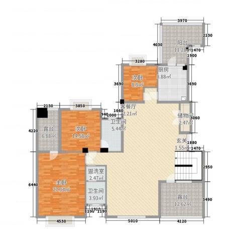 昆山鑫苑国际城市花园3室2厅2卫1厨246.00㎡户型图