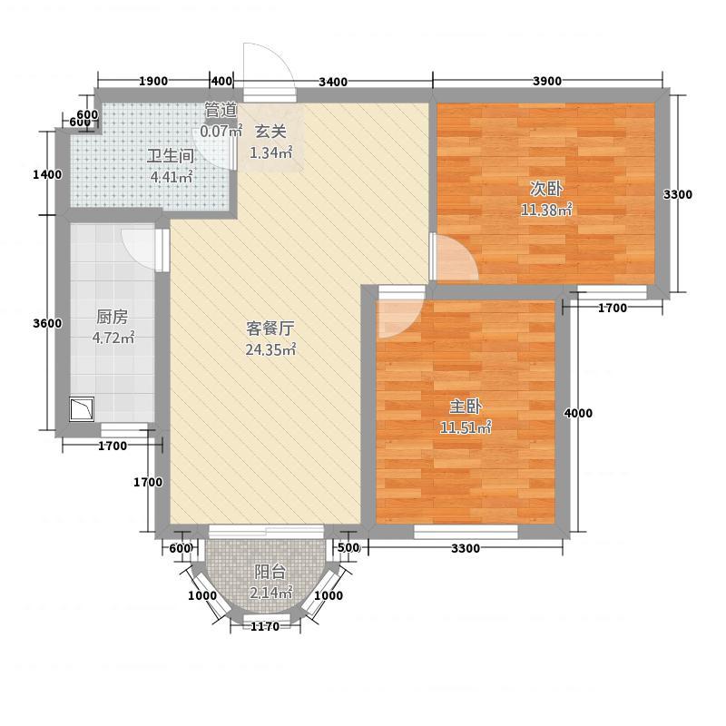 天宝中苑83.00㎡83户型2室2厅1卫1厨