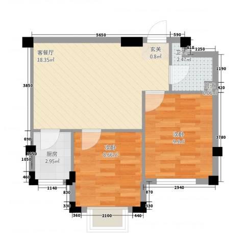 雁南园2室1厅1卫1厨60.00㎡户型图