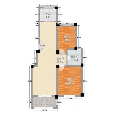 清城美墅2室1厅1卫1厨72.48㎡户型图