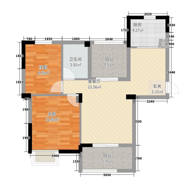 大华南湖公园世家2期5#楼B户型2室2厅1卫