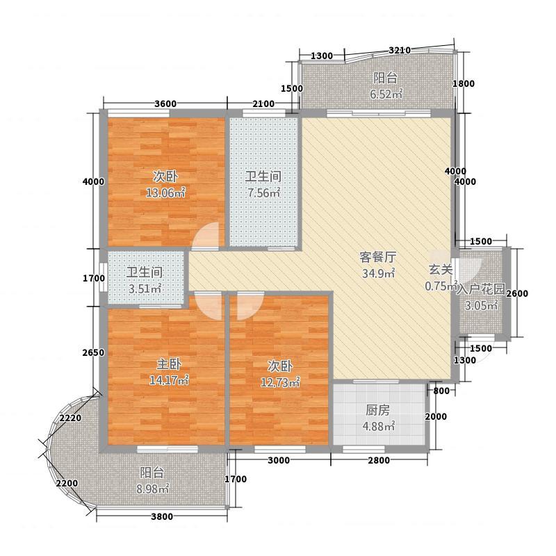 江东首府4126.20㎡江东户型3室2厅2卫1厨