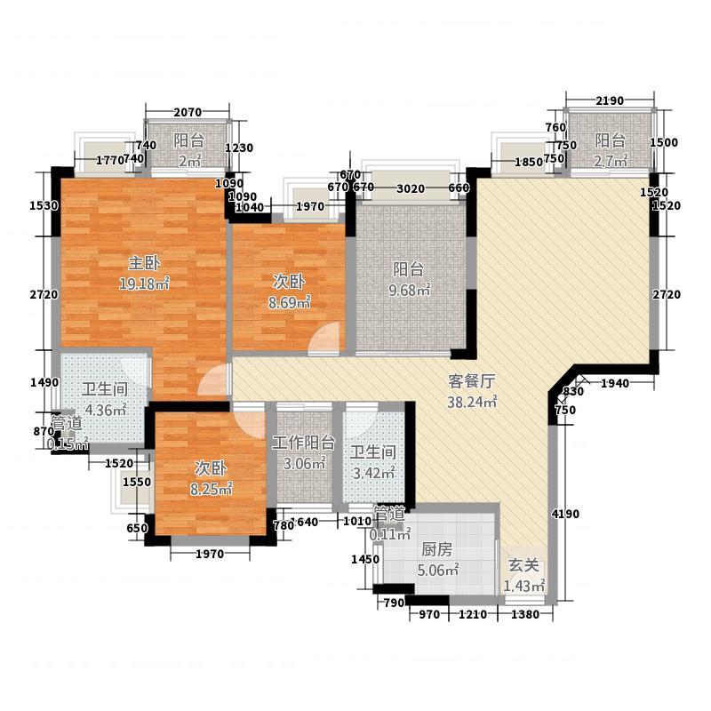 新龙岗商业中心8.00㎡户型3室