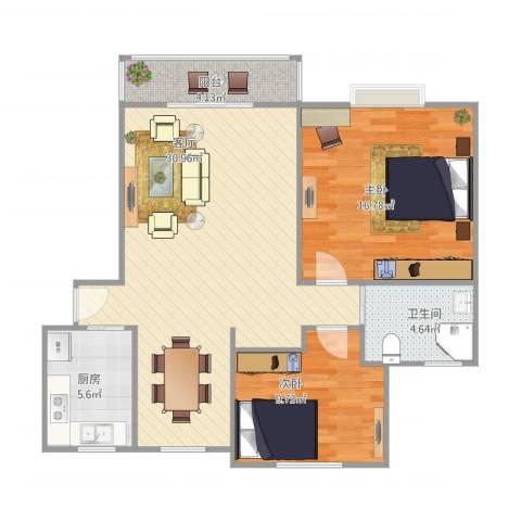 高行绿洲2室1厅1卫1厨97.00㎡户型图