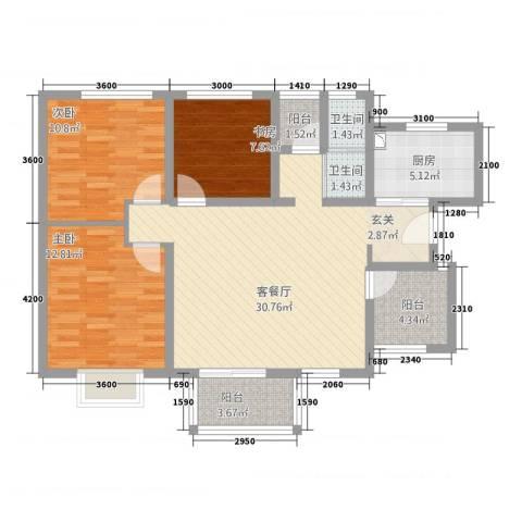 世纪之门3室1厅2卫1厨113.00㎡户型图