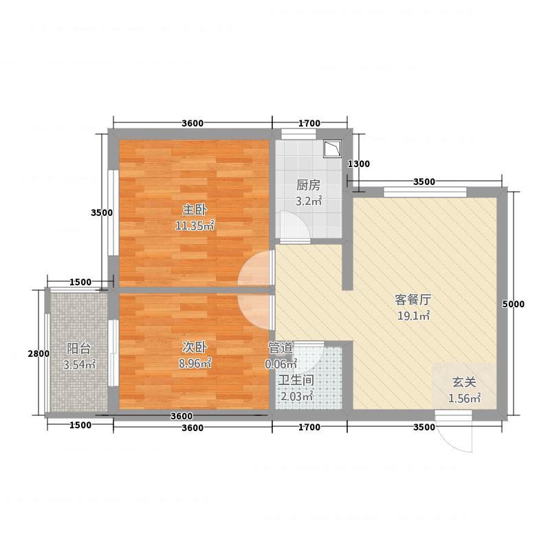天宝中苑67.00㎡67户型2室2厅1卫1厨