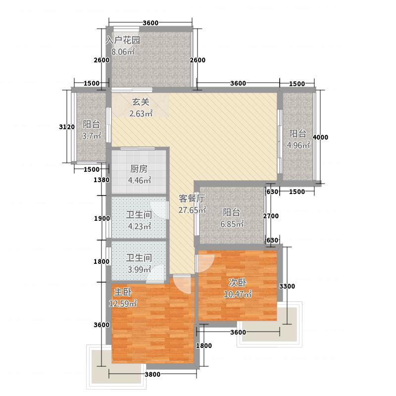 水岸花都二期云景315.42㎡A3户型2室2厅2卫1厨