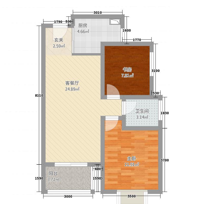 世纪之门81.12㎡5号楼B户型2室2厅1卫1厨