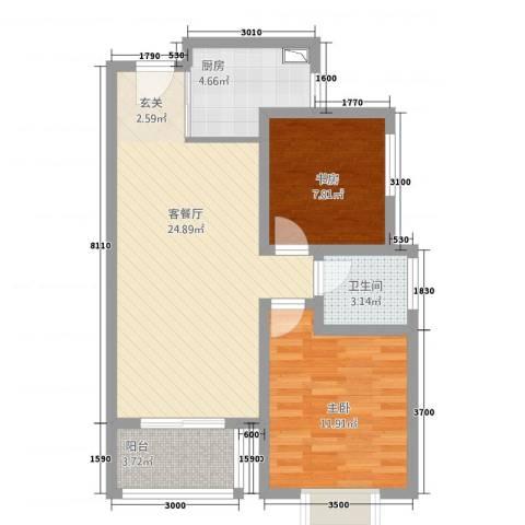 世纪之门2室1厅1卫1厨81.00㎡户型图