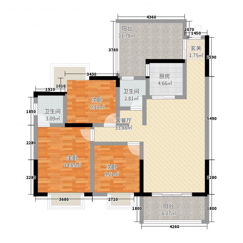 长乐星城23116.76㎡C2户型3室2厅2卫1厨