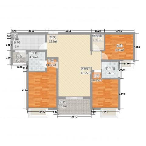 逸境・新城3室1厅2卫1厨122.00㎡户型图