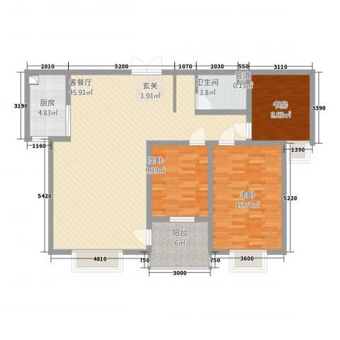 国贸中心3室1厅1卫1厨134.00㎡户型图