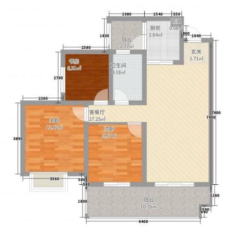 逸境・新城3室1厅1卫1厨76.78㎡户型图