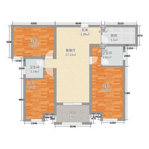锦绣江南3室1厅2卫1厨121.00㎡户型图