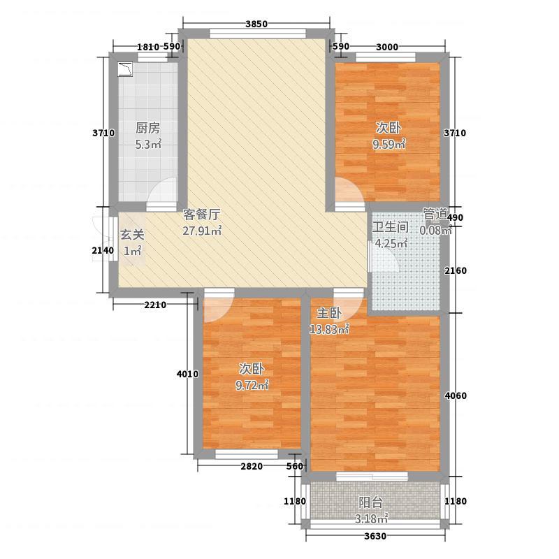 蓝爵世家8.28㎡户型3室2厅1卫1厨