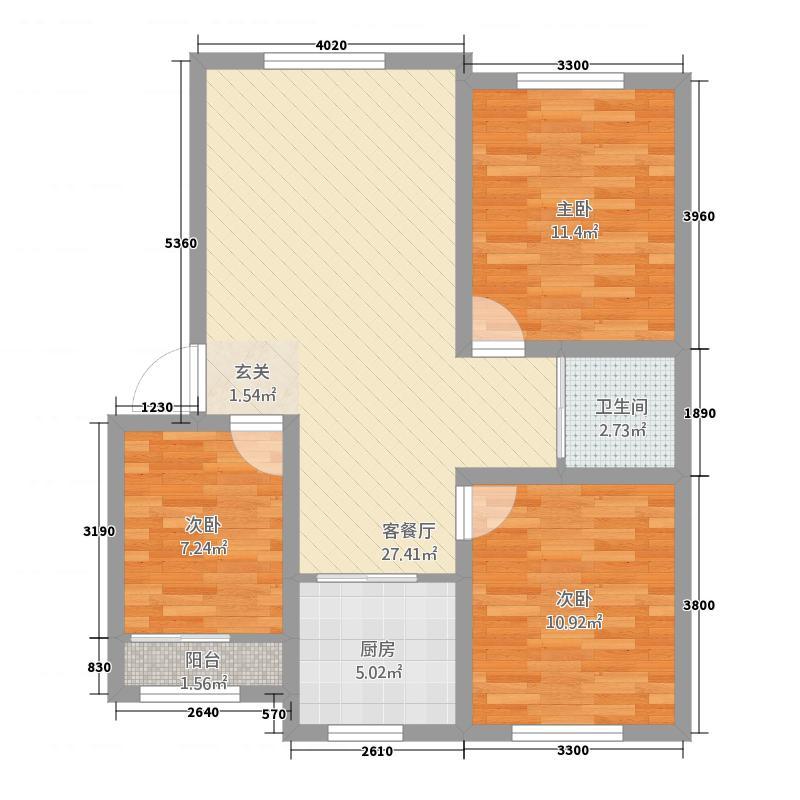 兴达佳园4.38㎡A户型3室2厅1卫1厨