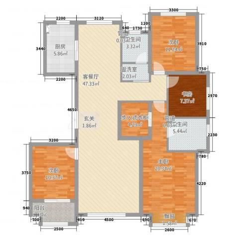花栖左岸4室2厅2卫1厨172.00㎡户型图