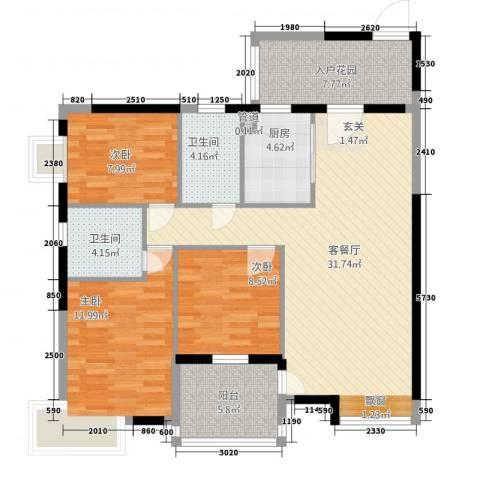 �河一�3室1厅2卫1厨86.86㎡户型图