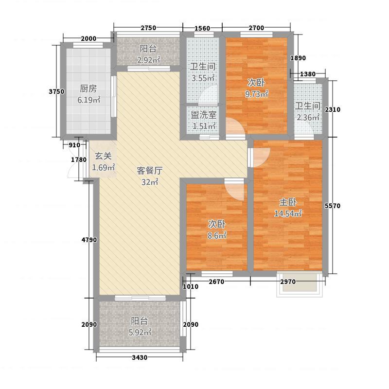 中禾英郡1381127.63㎡1、3、8、11、13栋A户型3室2厅2卫1厨