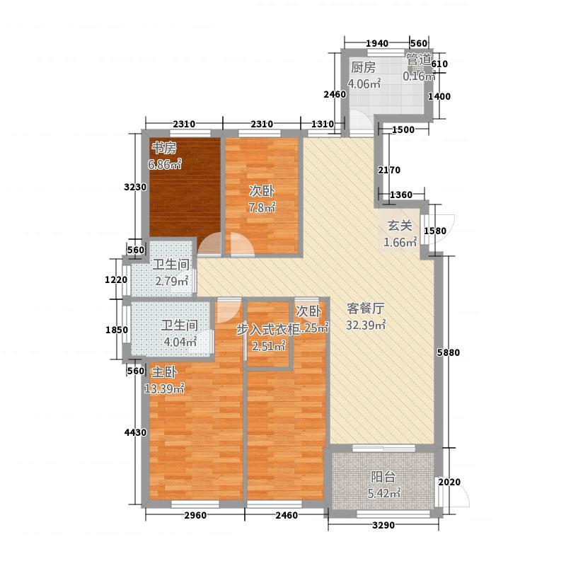 学府壹号1422123.25㎡户型4室2厅2卫1厨