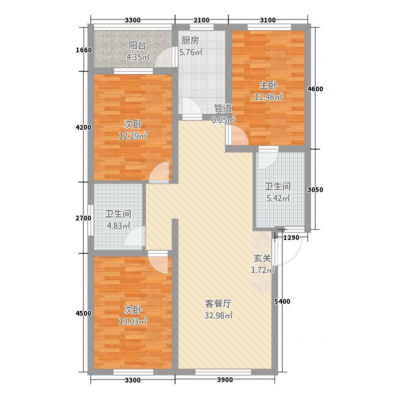 兴乐新城111.47㎡C户型3室2厅2卫1厨