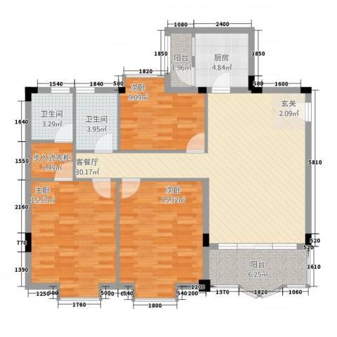育馨花园3室1厅2卫1厨130.00㎡户型图
