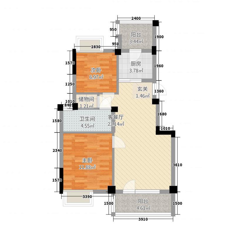 万科四季花城西半岛2室1厅1卫1厨87.00㎡户型图