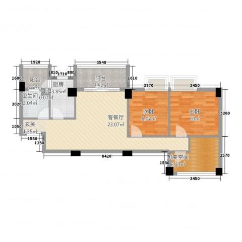 锦盈嘉园2室1厅1卫1厨89.00㎡户型图