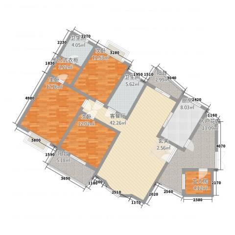 天星锦苑3室1厅2卫1厨181.00㎡户型图