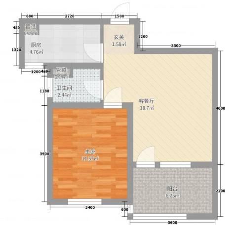 朗诗.绿色街区1室1厅1卫1厨64.00㎡户型图