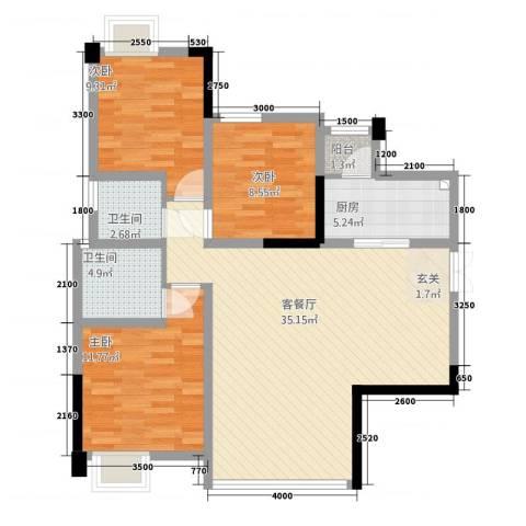 天悦府3室1厅2卫1厨112.00㎡户型图