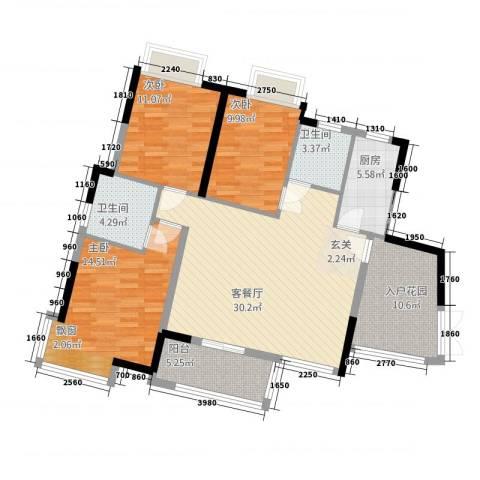 御天城跃龙苑3室1厅2卫1厨127.00㎡户型图