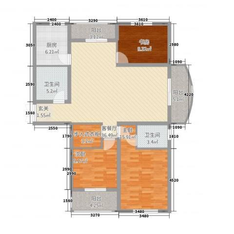 侨康苑3室1厅2卫1厨101.38㎡户型图