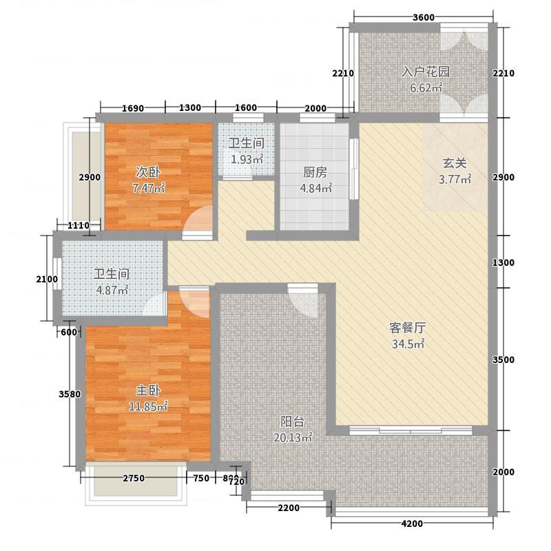 东城明珠17.00㎡户型2室2厅2卫1厨